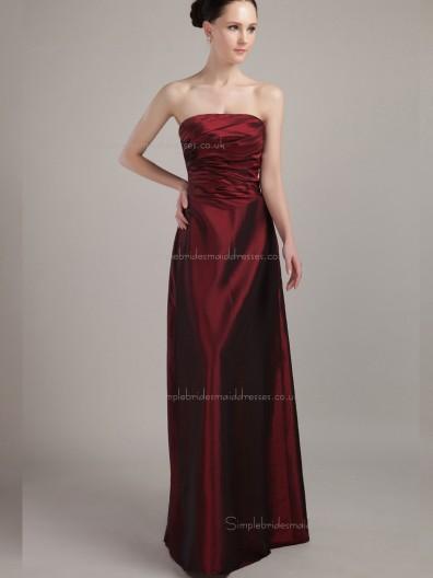Burgundy Natural Strapless A-line Satin Floor-length Bridesmaid Dress