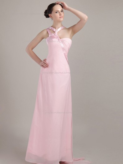 pink Chiffon Natural Floor-length One Shoulder Column / Sheath Bridesmaid Dress