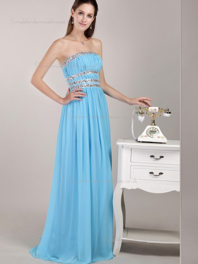 Blue Empire A-line Floor-length Chiffon Strapless Bridesmaid Dress