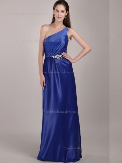 Royal Blue Satin One Shoulder Column / Sheath Natural Floor-length Bridesmaid Dress