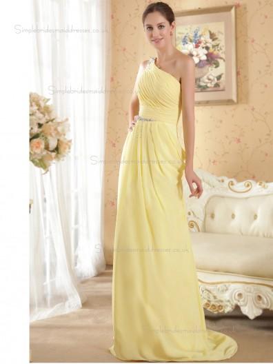 Daffodil Sweep Chiffon One Shoulder A-line Empire Bridesmaid Dress
