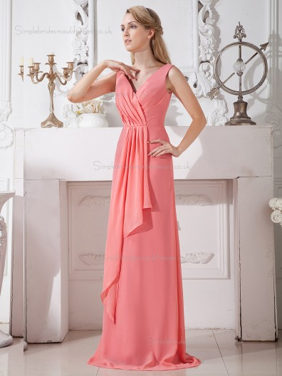 Watermelon Column / Sheath V-neck Natural Chiffon Floor-length Bridesmaid Dress
