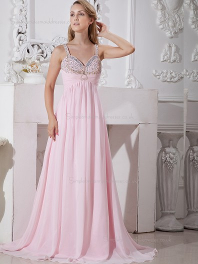 Pink Sweep Spaghetti Straps A-line Empire Chiffon Bridesmaid Dress