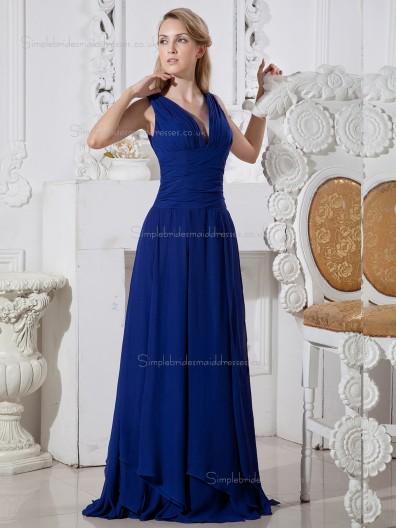 Royal Blue Floor-length V-neck Chiffon Empire A-line Bridesmaid Dress