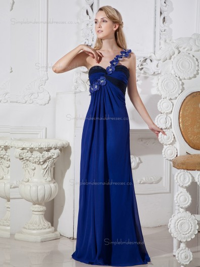 Royal Blue Floor-length One Shoulder Chiffon Empire A-line Bridesmaid Dress