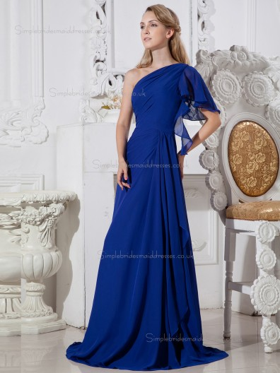 Royal Blue Chiffon Floor-length One Shoulder A-line Natural Bridesmaid Dress