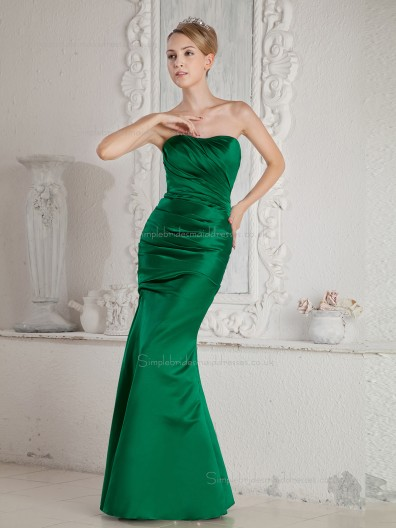 Green Floor-length Mermaid Sweetheart Satin Natural Bridesmaid Dress