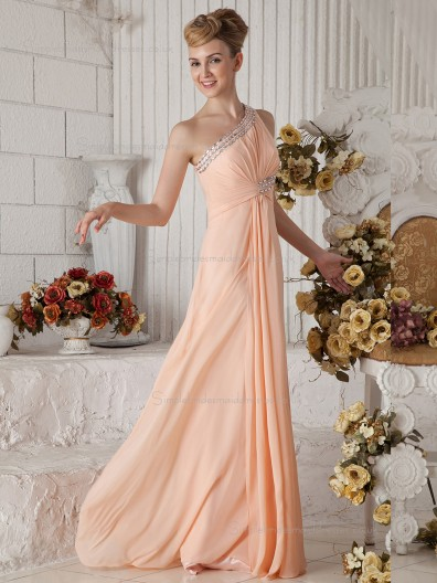 Pink A-line Floor-length Empire One Shoulder Chiffon Bridesmaid Dress