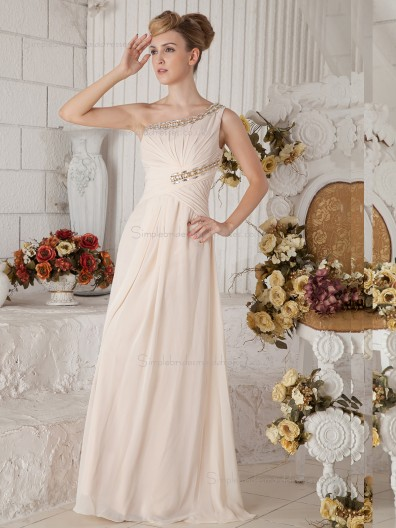 Pearl Pink Floor-length A-line One Shoulder Chiffon Natural Bridesmaid Dress