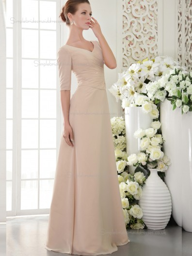 Pearl Pink V-neck Natural A-line Chiffon Floor-length Bridesmaid Dress