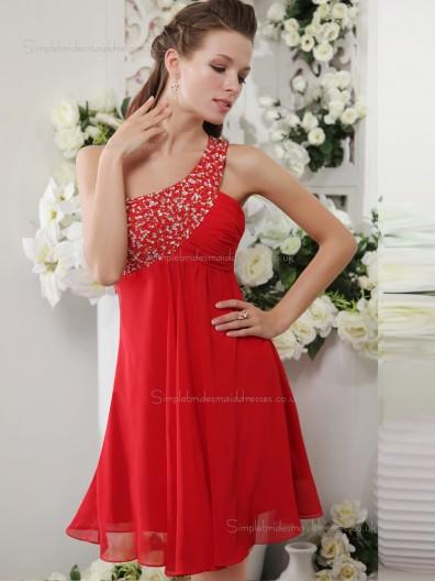 Red One Shoulder Short-length A-line Empire Chiffon Bridesmaid Dress