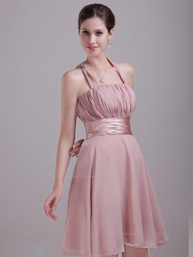 Pink A-line Chiffon Short-length Empire Halter Bridesmaid Dress