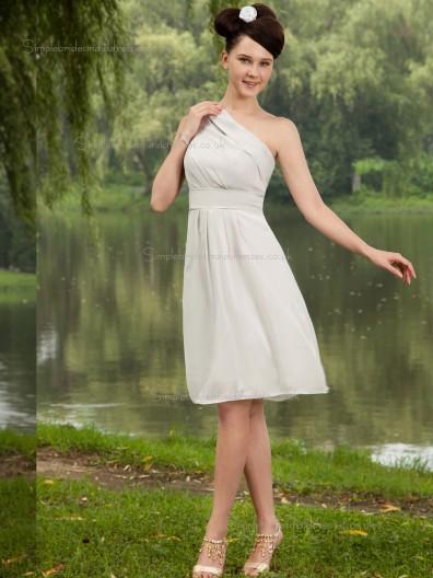 ivory Chiffon A-line One Shoulder Knee-length Empire Bridesmaid Dress