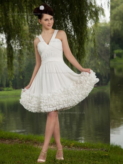 ivory A-line Empire Knee-length V-neck Chiffon Bridesmaid Dress