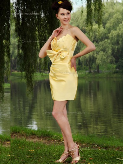 Daffodil Satin Empire V-neck Column / Sheath Short-length Bridesmaid Dress