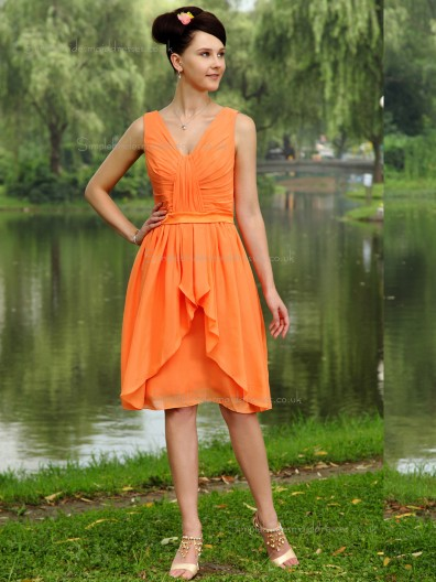 Orange V-neck Chiffon Natural A-line Knee-length Bridesmaid Dress