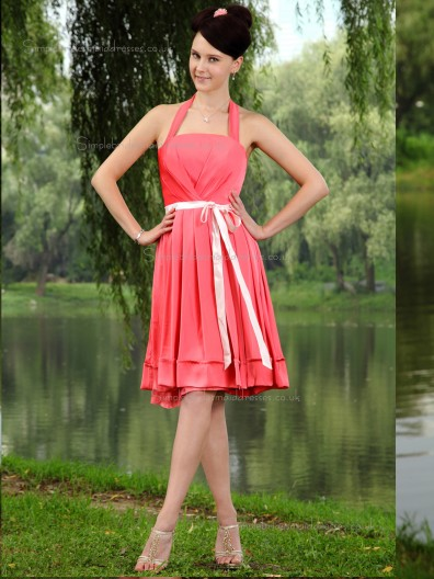 Watermelon A-line Satin Natural Knee-length Halter Bridesmaid Dress
