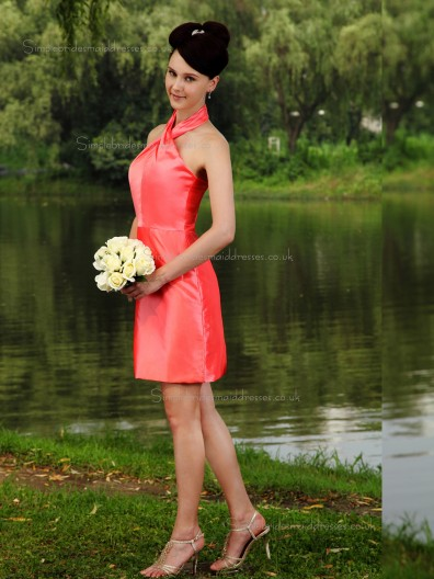 Watermelon Short-length Natural Halter Column / Sheath Satin Bridesmaid Dress