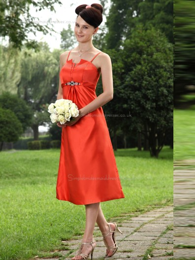 Orange Spaghetti Straps Satin Tea-length A-line Empire Bridesmaid Dress