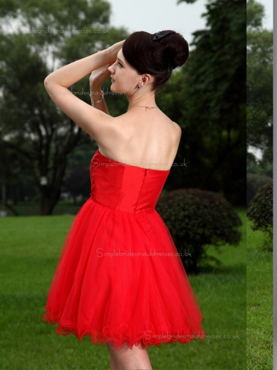 Red Empire A-line Short-length Organza Sweetheart Bridesmaid Dress