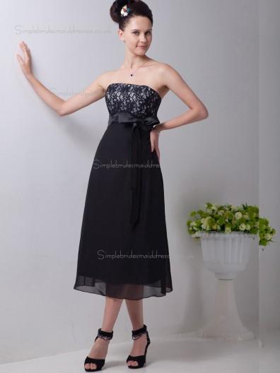 Black A-line Strapless Chiffon Empire Tea-length Bridesmaid Dress
