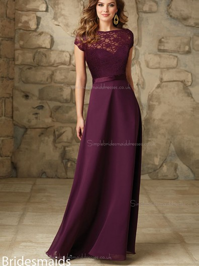 Beautiful Grape Chiffon Floor-length Beading Bridesmaid Dress