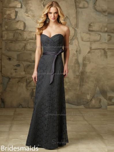 Best Multicolor Gray Lace Floor-length Lace Bridesmaid Dress