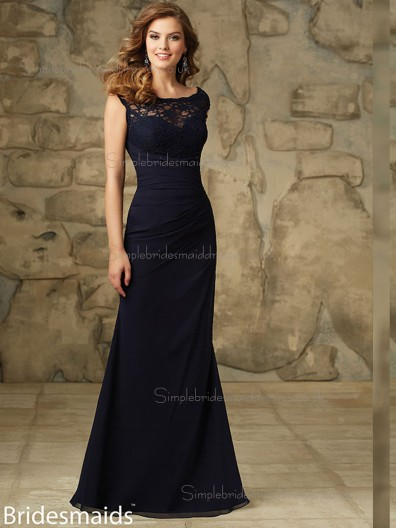 Cheap Multicolor Black Chiffon Floor-length Bridesmaid Dress