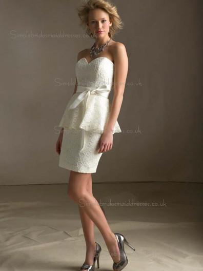 Unique Ivory Lace Short-length Beading Bridesmaid Dress
