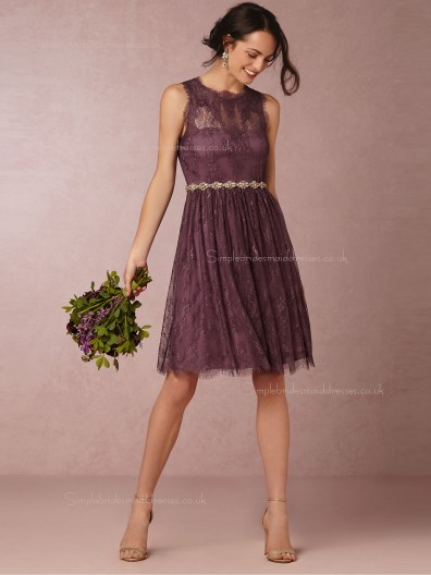 Discount Lace A-line Grape Bridesmaid Dresses