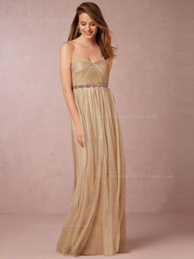 Luxury Gold Sweetheart Beading Sash Bridesmaid Dresses
