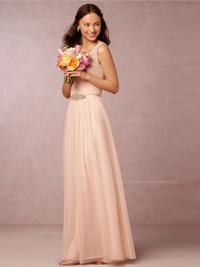 Elegant Beading Lace A-line V-neck Pearl Pink Bridesmaid Dresses