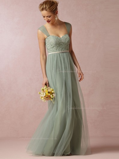 New Radiant A-line Applique Sweetheart Tulle Green Bridesmaid Dresses
