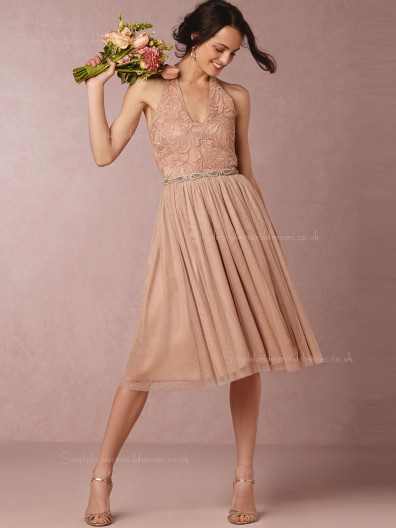 2016 Riveting A-line Tulle Pink Sleeveless Bridesmaid Dresses