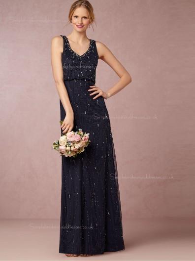 Wonderful Column / Sheath Dark Navy Beading Zipper Bridesmaid Dresses
