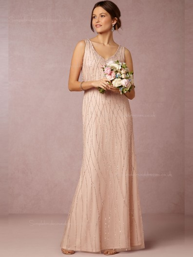 Enticing Pink V-neck Beading Floor-length Bridesmaid Dresses