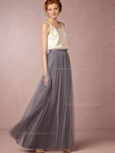 Adorable Gray Sleeveless Floor-length Tulle Bridesmaid Dresses