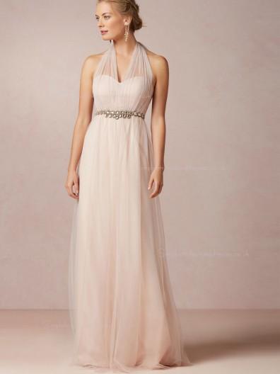 Ladylike Floor-length Tulle A-line Pink Bridesmaid Dresses