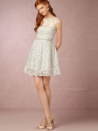 Entrancing Hot Selling Bateau Mini White Natural Bridesmaid Dresses