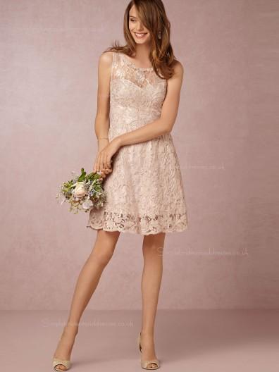 Fairytale A-line Lace Mini Pearl Pink Sleeveless Bridesmaid Dresses
