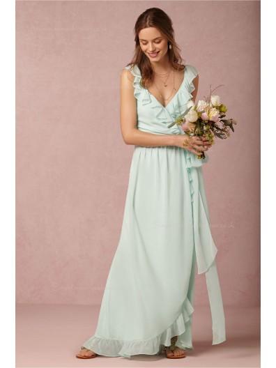 Winsome green Chiffon V-neck Natural Bridesmaid Dresses