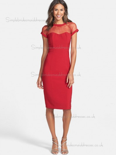 Lovely Satin Red Knee-length Bridesmaid Dresses
