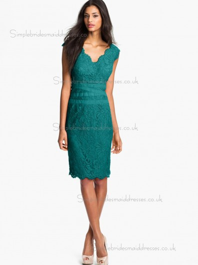 Vintage Knee-length Jade Applique Lace Bridesmaid Dresses