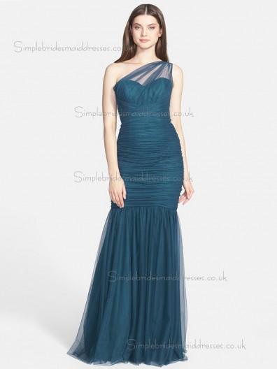 Designer Ink blue Ruched Floor-length Tulle Bridesmaid Dresses