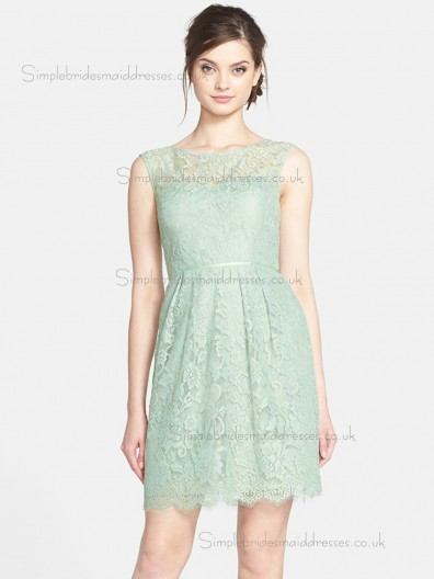 UK Lace Applique Green Mini Bridesmaid Dresses