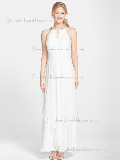 Beautiful Beading Chiffon White Ankle Length Bridesmaid Dresses