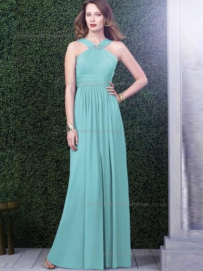 Elegant Chiffon Floor-length Jade Bridesmaid Dresses