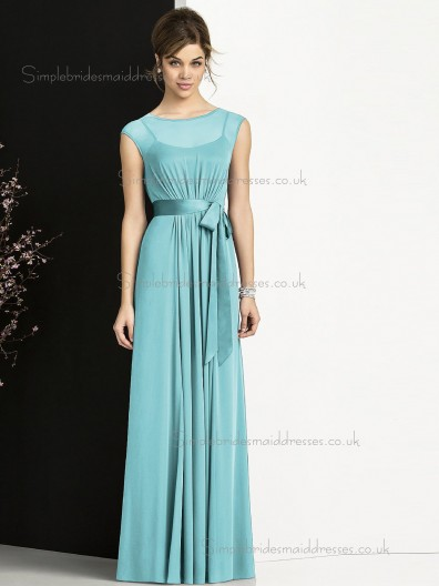 Elegant Celebrity Sash Floor-length Chiffon Bridesmaid Dresses