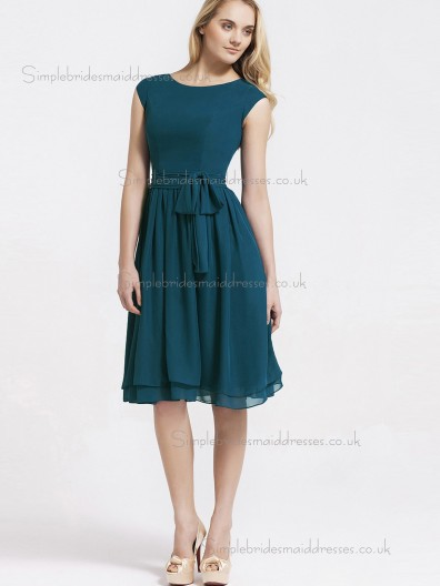 Amazing Chiffon Belt Knee-length Hunter Bridesmaid Dresses