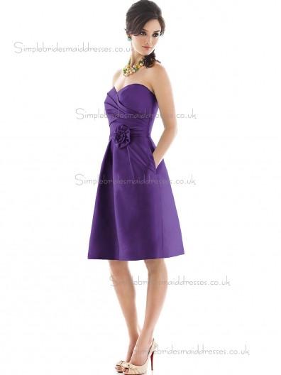 Elegant Discount Hand Made Flower Regency Short-length Satin Bridesmaid Dresses